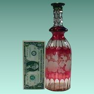 c1850 Bohemian Ruby Red Bottle Decanter with Slice Cuts and Wheel Engraved Fruiting Vine Motif