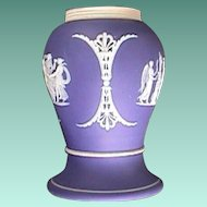 c1915 Dark Blue Wedgwood Jasper Stoneware Baluster Vase or Shaker with Applied Classical Figures