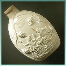 c1780 Scarce English Creamware Flask with Handshake Drinking Scene in Relief (Wedgwood or . . .)