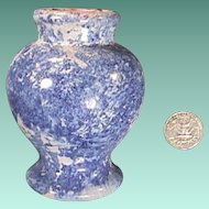 c1860 hand thrown Blue Sponged Faience Delft Ovoid Apothecary or Ointment Jar