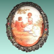 c1900 Hand Painted Porcelain Brooch in Cast Frame with Diamonds and faceted Rhinestones