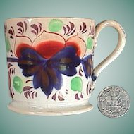 c1835 Staffordshire Gaudy Welsh Grape Pattern Transitional Creamware small Cup or Mug (Child size)
