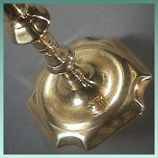 c1720s George I Seamed Brass Candlestick with Corner Notched Base and Faceted Mushroom Knop