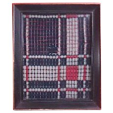 c1825 Hand Woven on Loom Overshot Coverlet Piece framed under glass (red, dark blue, white)