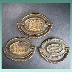 c1790 Three Stamped Brass Furniture Back Plates with Cast Bail Handles (two Plates lacking Mounting Posts)