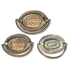 c1790 Three Stamped Brass Furniture Back Plates or Escutcheons with Cast Bail Handles (two Plates lacking Mounting Posts)