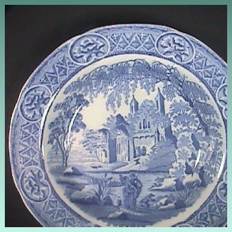 c1815 Davenport Pearlware Soup Plate in Fisherman and Woman pattern (Perfect!)