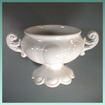 English White Ironstone Footed Bowl by Brougham and Mayer (pattern Registered Jan. 15, 1855)
