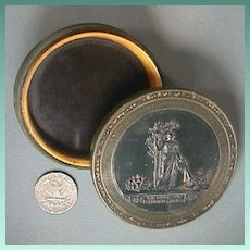 c1860 Peace and Abundance Trinket Box with Horn collar and Gilded Accents