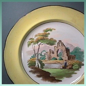 c1815 Canary Yellow Pearlware Plate with Solitary Fisherman and Hand Colored Pratt Palette Enameling (Family heritage noted)