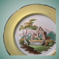 c1815 Canary Yellow Pearlware Plate with Solitary Fisherman Scene and Pratt-Palette Hand Enameled Accents (Family heritage noted)