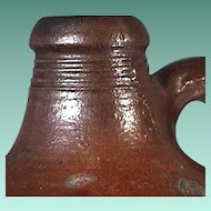 c1795 British-American Salt Glazed Brown Stoneware Ovoid Jug or Bottle with Reeded Neck (13+ inches tall)