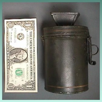 c1900 Tole Coated Tinned Iron Coin Fare Box or Bank with Gold Striping and Hasp for Lock