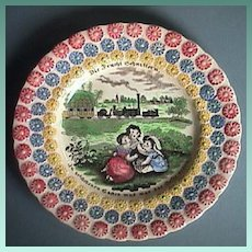 c1843 Stunning Child's Daisy Plate with early Steam Locomotive Railway and Victorian Moral Wisdom Motto