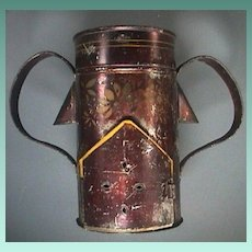 c1850 American Tinned Iron and Stenciled Toleware Four-part Warmer and Veilleuse with painted accents