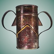 c1850 American Tinned Iron and Stenciled Toleware Four-part Food Warmer and Veilleuse with painted accents