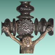 c1900 Black Lacquered Turned Wood Spindle Crucifix 14 inches tall with shell finial accents
