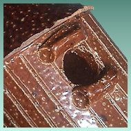 c1915 Salt-glazed Drain Pipe Bird House Whimsey in Brown Stoneware with nice details