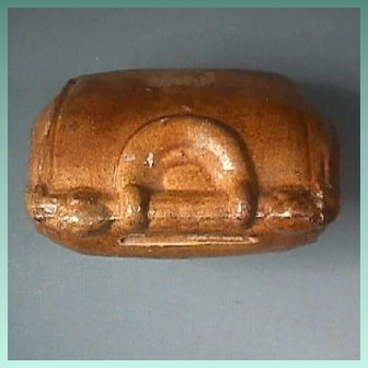 Late 1800s Glazed Redware Toy Coin Bank styled after a Country Doctor's Medical Bag