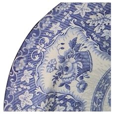 c1826 Spode Blue Printed Filigree Pattern Pearlware Plate (marked with both impressed and printed SPODE)