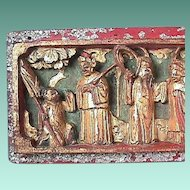 Late 1800s Chinese Deeply Carved Wood Panel with Shoreline Scene, crushed Malachite, Vermillion and Mother of Pearl.