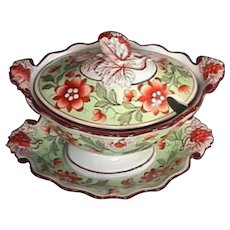 c1807 Beautiful Molded Pearlware Cream Tureen from a Dessert Service by Ridgway (Pattern 596)