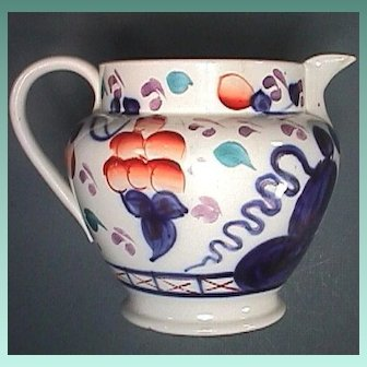 c1835 Staffordshire Gaudy Welsh Oyster Pattern Transitional Creamware Pitcher or Cream Jug