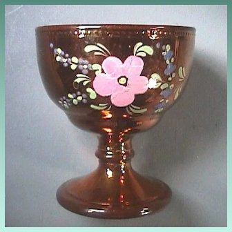 c1840 Copper Luster Pottery Rummer or Goblet with Double Ogee Bowl, Conical Foot and Bladed Knop mimicking Glass