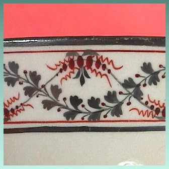 c1810 English Silver Luster Porcelain Bowl with Painted Petite Floral Garlands and Tiny Red Accents