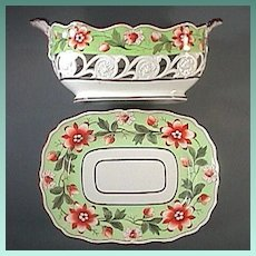 c1807 Molded , Painted and Pierced Pearlware Basket with Stand from Ridgway Dessert Service (Pattern 596)