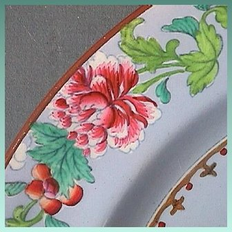 c1814 Spode Pearlware Powder Blue Ground Hand Enameled Plate in Chinese Garden Famille Rose Genre