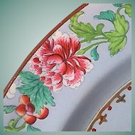 c1814 Spode Pearlware Hand Enameled Plate in Chinese Garden Famille Rose Genre with Powder Blue Ground