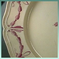 c1807 Hand painted Catherine II-Husk Pattern Creamware Plate with Queens Rim by Otto Factory (two available)