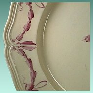 c1807 Hand painted Empress Catherine II-Husk Pattern Creamware Plate by Otto Factory (two available, scarce)