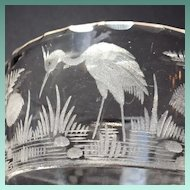 c1830 Hand Blown Glass Tumbler with Slice Cut Rim and Copper Wheel engraved Marsh and Birds Scene