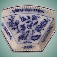 c1890 Flow Blue Beaded Rim Dish with Blue Onion Variant from a Supper Set Service Wheel