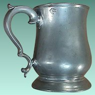 c1820 Tulip or Bellied Shape Late Georgian Cast Pewter Pint Mug or Tankard with GIV verification seal