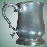 c1820 Tulip or Bellied-Shape Late Georgian Cast Pewter Pint Mug or Tankard with George IV verification seal