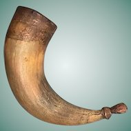 c1820 Smaller Size Powder Horn with Original Wood Fittings, Iron Tacks, and Carved Pouring Spout