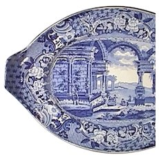 c1825 Large Pearlware Dark Blue Low Fruit Compote Platter in 'Ancient Rome' Pattern