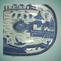 c1820 Chinese Export Transitional Canton Blue and White Tureen Cover with Riverscape in a  Late Nanking-Style