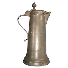 c1880 European Tall Pewter Flagon or Tankard in Arts and Crafts style with original Cover and Ball Thumb Piece