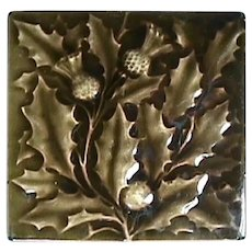 c1890 Thistle Branches in relief on 6 inch tile by American Encaustic Tiling Company AETCo (2 available)