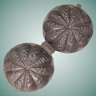 c1900 Tinned Iron Squash or Gourd-shaped two-piece Pudding Cake Mold or Mould