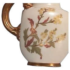 1888 (dated) Gold Gilded Royal Worcester Porcelain Flat Back Jug or Pitcher - perfect (2nd smallest size)