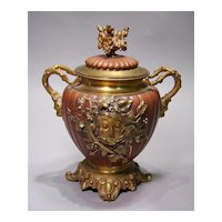 19th c. French Bronze and Agate Covered Jar