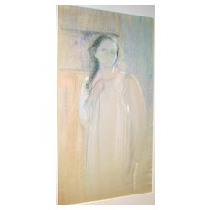 Lucy Hariot Booth Color Pastel Sketch of Woman Standing