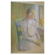 Lucy Hariot Booth Color Pastel Sketch of Woman Sitting