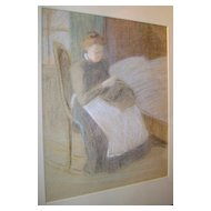 Lucy Hariot Booth Color Pastel Sketch of Woman Knitting