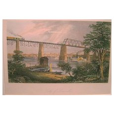 City of Louisville, Kentucky Hand-Colored Print ca. 1870